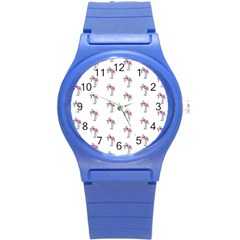 Sweet Flamingo Pattern Round Plastic Sport Watch (s)
