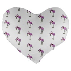 Sweet Flamingo Pattern Large 19  Premium Flano Heart Shape Cushions