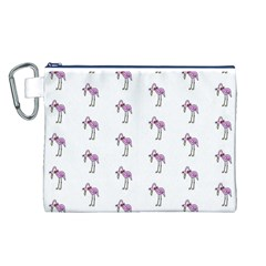 Sweet Flamingo Pattern Canvas Cosmetic Bag (l)