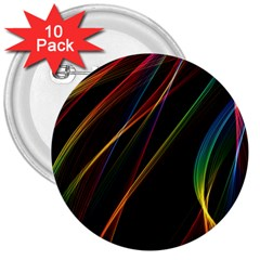 Rainbow Ribbons 3  Buttons (10 Pack)