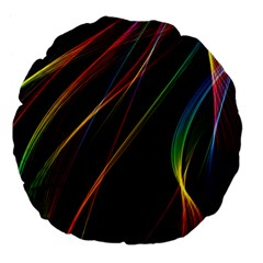 Rainbow Ribbons Large 18  Premium Flano Round Cushions