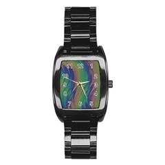 Texture Abstract Background Stainless Steel Barrel Watch