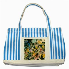 Art Graffiti Abstract Vintage Striped Blue Tote Bag