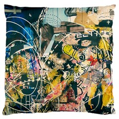 Art Graffiti Abstract Vintage Large Flano Cushion Case (one Side)