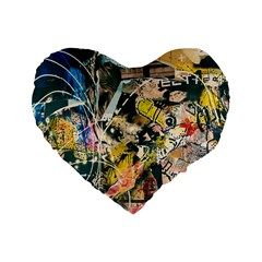 Art Graffiti Abstract Vintage Standard 16  Premium Flano Heart Shape Cushions