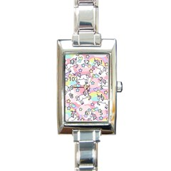 Unicorn Rainbow Rectangle Italian Charm Watch