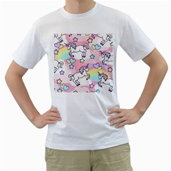 Unicorn Rainbow Men s T Shirt (white) (two Sided)