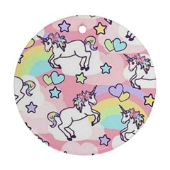 Unicorn Rainbow Round Ornament (two Sides)