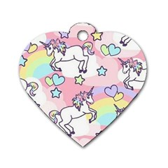 Unicorn Rainbow Dog Tag Heart (one Side)