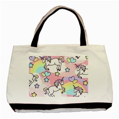 Unicorn Rainbow Basic Tote Bag (two Sides)