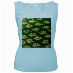Pineapple Pattern Women s Baby Blue Tank Top