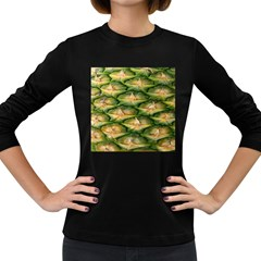 Pineapple Pattern Women s Long Sleeve Dark T Shirts