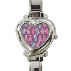 Pineapple Pattern Heart Italian Charm Watch