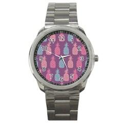 Pineapple Pattern Sport Metal Watch