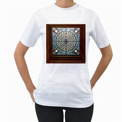 Stained Glass Window Library Of Congress Women s T Shirt (white) (two Sided)