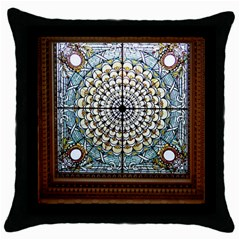Stained Glass Window Library Of Congress Throw Pillow Case (black)
