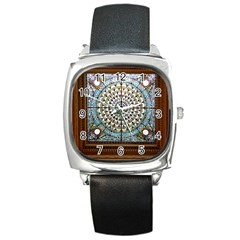 Stained Glass Window Library Of Congress Square Metal Watch