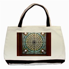 Stained Glass Window Library Of Congress Basic Tote Bag (two Sides)