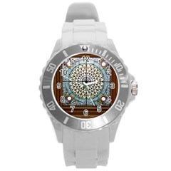 Stained Glass Window Library Of Congress Round Plastic Sport Watch (l)