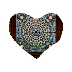Stained Glass Window Library Of Congress Standard 16  Premium Heart Shape Cushions