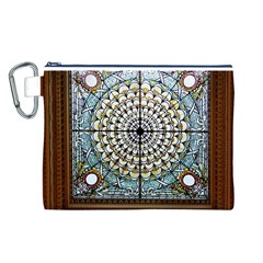 Stained Glass Window Library Of Congress Canvas Cosmetic Bag (l)