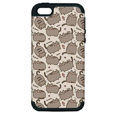 Pusheen Wallpaper Computer Everyday Cute Pusheen Apple Iphone 5 Hardshell Case (pc+silicone)