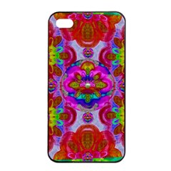 Fantasy   Florals  Pearls In Abstract Rainbows Apple Iphone 4/4s Seamless Case (black)