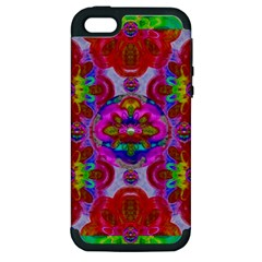 Fantasy   Florals  Pearls In Abstract Rainbows Apple Iphone 5 Hardshell Case (pc+silicone)