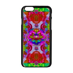 Fantasy   Florals  Pearls In Abstract Rainbows Apple Iphone 6/6s Black Enamel Case