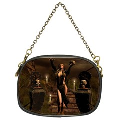 The Dark Side, Dark Fairy With Skulls In The Night Chain Purses (two Sides)