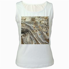 Background Structure Abstract Grain Marble Texture Women s White Tank Top