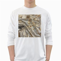 Background Structure Abstract Grain Marble Texture White Long Sleeve T Shirts
