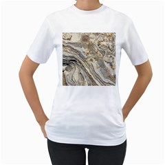Background Structure Abstract Grain Marble Texture Women s T Shirt (white)