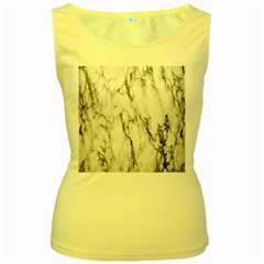 Marble Granite Pattern And Texture Women s Yellow Tank Top