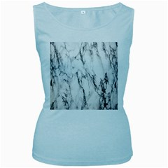 Marble Granite Pattern And Texture Women s Baby Blue Tank Top