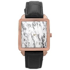 Marble Granite Pattern And Texture Rose Gold Leather Watch