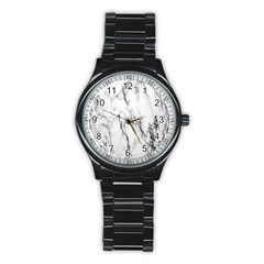 Marble Granite Pattern And Texture Stainless Steel Round Watch