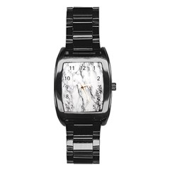 Marble Granite Pattern And Texture Stainless Steel Barrel Watch
