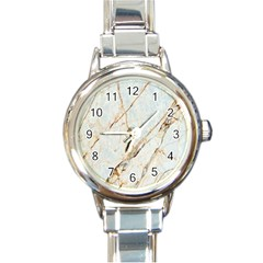 Marble Texture White Pattern Surface Effect Round Italian Charm Watch