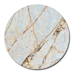 Marble Texture White Pattern Surface Effect Round Mousepads
