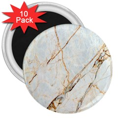Marble Texture White Pattern Surface Effect 3  Magnets (10 Pack)