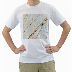 Marble Texture White Pattern Surface Effect Men s T Shirt (white) (two Sided)