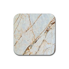 Marble Texture White Pattern Surface Effect Rubber Square Coaster (4 Pack)