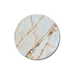 Marble Texture White Pattern Surface Effect Rubber Coaster (round)