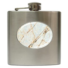Marble Texture White Pattern Surface Effect Hip Flask (6 Oz)