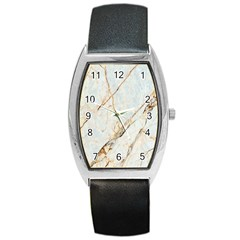 Marble Texture White Pattern Surface Effect Barrel Style Metal Watch