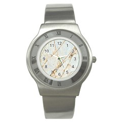 Marble Texture White Pattern Surface Effect Stainless Steel Watch