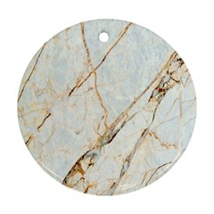 Marble Texture White Pattern Surface Effect Round Ornament (two Sides)