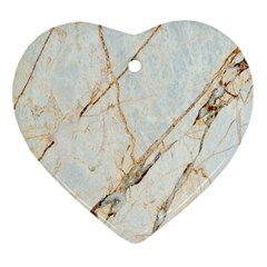 Marble Texture White Pattern Surface Effect Heart Ornament (two Sides)