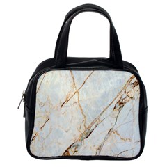 Marble Texture White Pattern Surface Effect Classic Handbags (one Side)